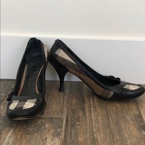 Burberry Plaid Quilted Buckle Heels